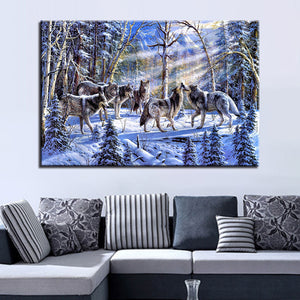 Wolves Art 1 Piece HD Multi Panel Canvas Wall Art Frame