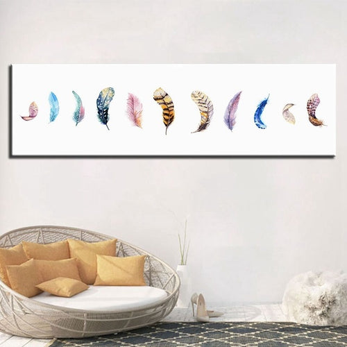 Colorful Feathers 1 Piece HD Multi Panel Canvas Wall Art Frame