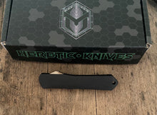 Load image into Gallery viewer, Heretic knives Manticore S  with black Ano/ marbled carbon fiber handle and hand ground dlc blade