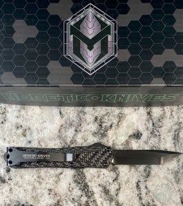 Heretic knives manticore S full carbon fiber with hand ground tanto blade