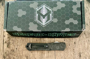 Heretic knives Manticore S  with black Ano/ marbled carbon fiber handle and hand ground dlc blade