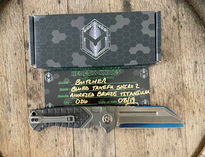 Heretic knives custom Butcher with bronzed  TI with shiro 2 San mai blade