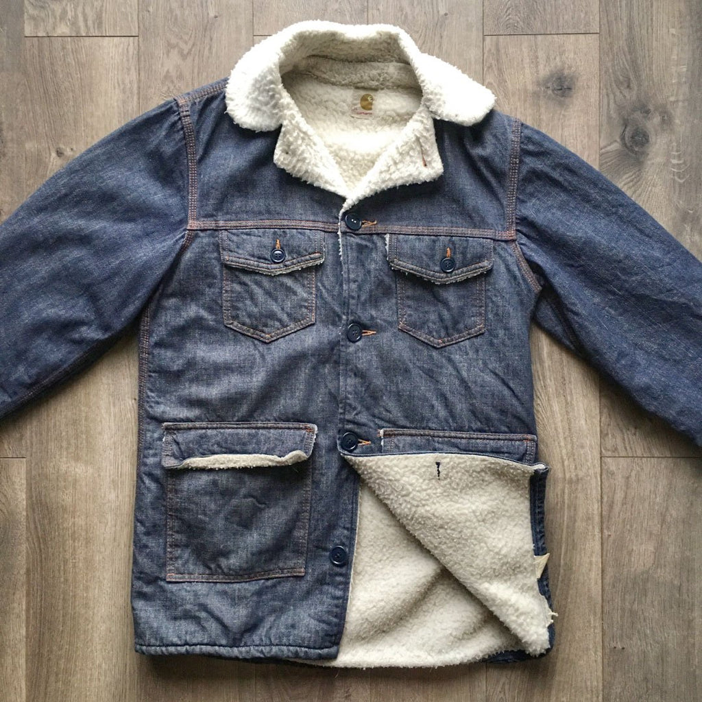 Vintage Carhartt 70's Era Sherpa Denim Barn Coat