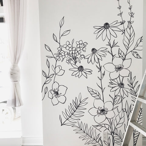 Work in progress wall mural floral wall art