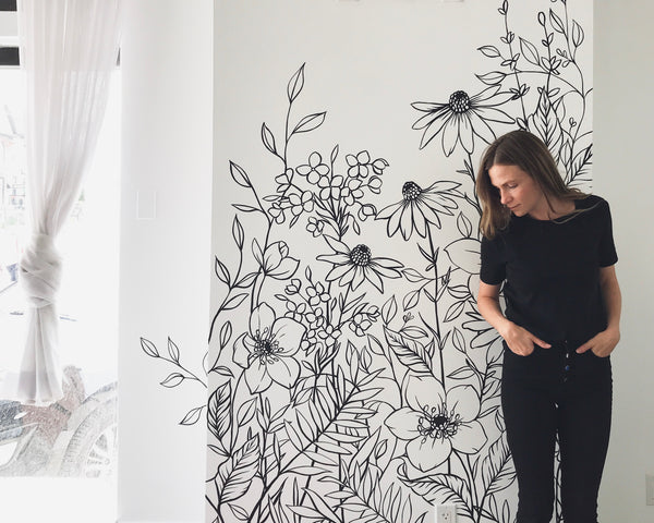 botanical floral black and white wall mural