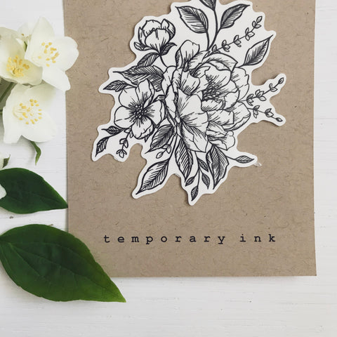 custom floral tattoo design black ink tiny tattoo temporary tattoo