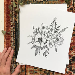 Anemone + Wild Rose  Art Print {Black}