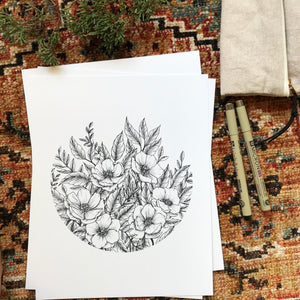 Wildflower Circle Art Print {Black}