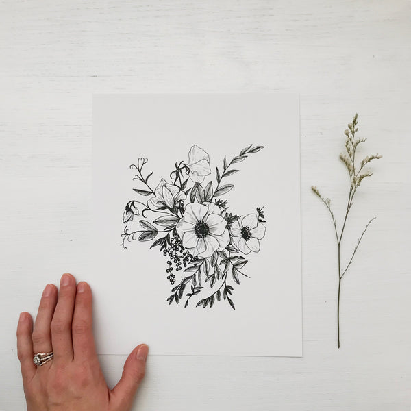 hand drawn floral botanical illustration minimalist wildflower anemone peony hand drawn art