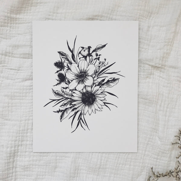 hand drawn floral botanical magnolia illustration minimalist sunflower thistle wildflower hand drawn art