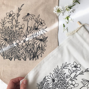 Handmade Linen Wildflower Wall Hanging {Large}