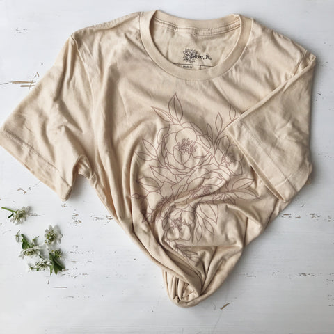 Floral Cotton T-Shirt {Nude}