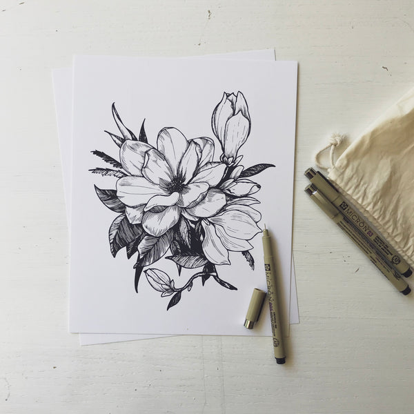 hand drawn floral botanical magnolia illustration minimalist magnolia hand drawn art