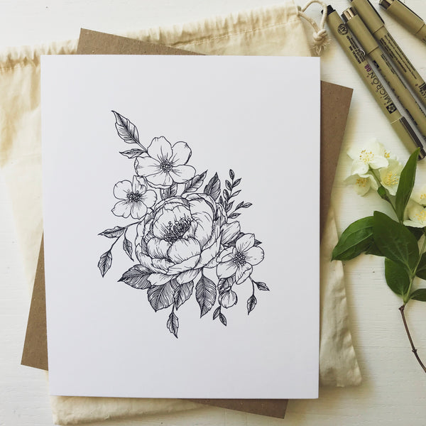 Peony Bloom + Wild Rose I Art Print {Black}