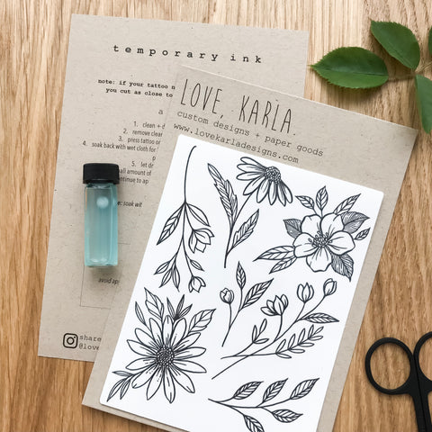 floral tattoo botanical temporary tattoo custom design wildflower tattoo inked daisy tattoo idea minimalist floral tattoo
