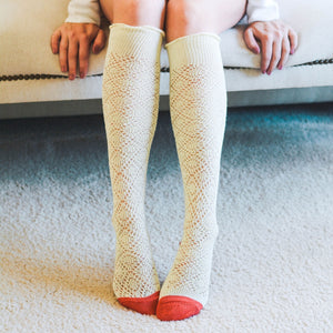 Colourful Knee-high Crochet Socks in Cream + Coral
