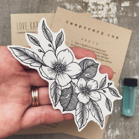 custom floral tattoo design black ink tiny tattoo temporary tattoo girly tattoo inked wildflower tattoo