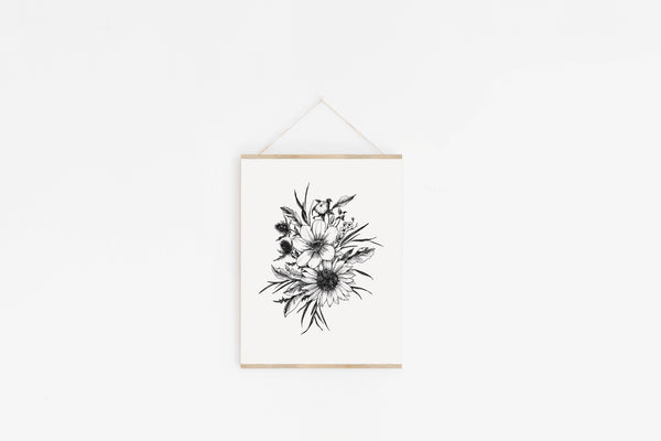 Sunflower + Thistle Art Print {Black}