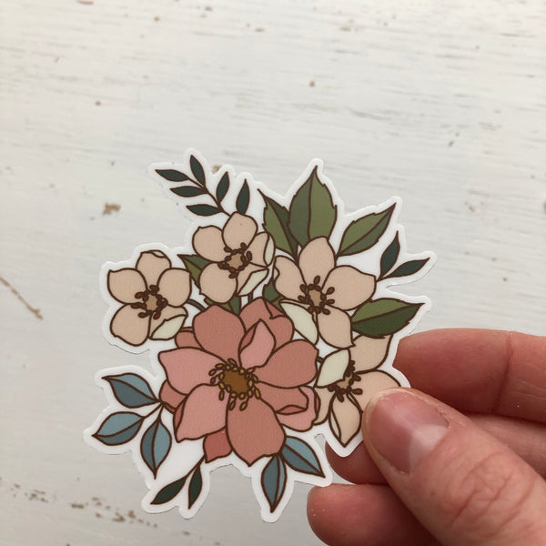 Wild Rose + Peony Small Vinyl Sticker {single}