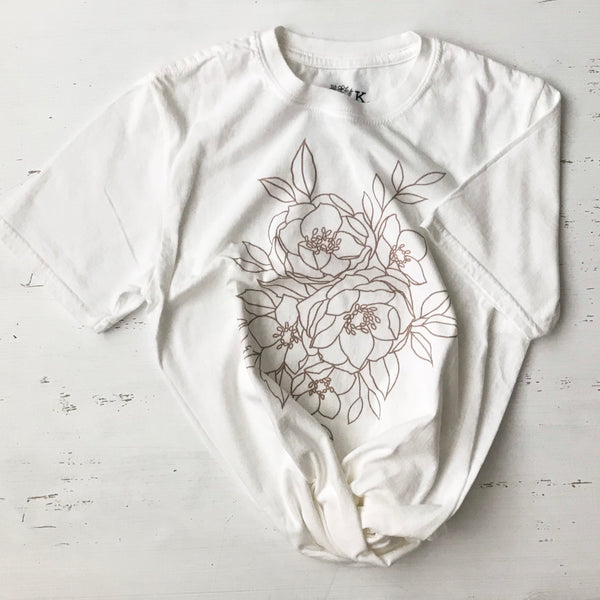 Peony + Wild Roses Soft Cotton T-Shirt