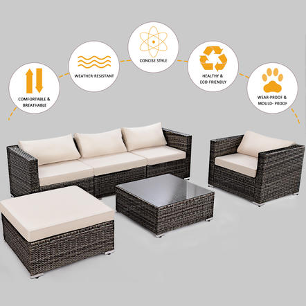 Magnificent 6Pc Patio Rattan Wicker Furniture Set Sectional Sofa Couch W 2 Set Cushion Cover Cjindustries Chair Design For Home Cjindustriesco