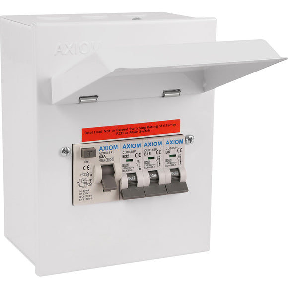 Axiom Metal 17th Edition Garage/Workshop Consumer Unit 3 Way