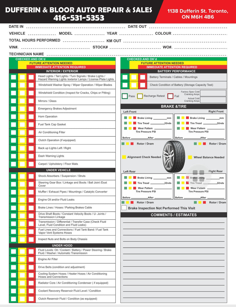 Automotive Inspection Forms ( 2 part)