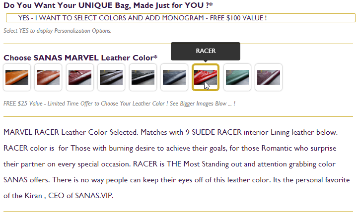 SANAS MARVEL LEATHER COLOR SELECTION