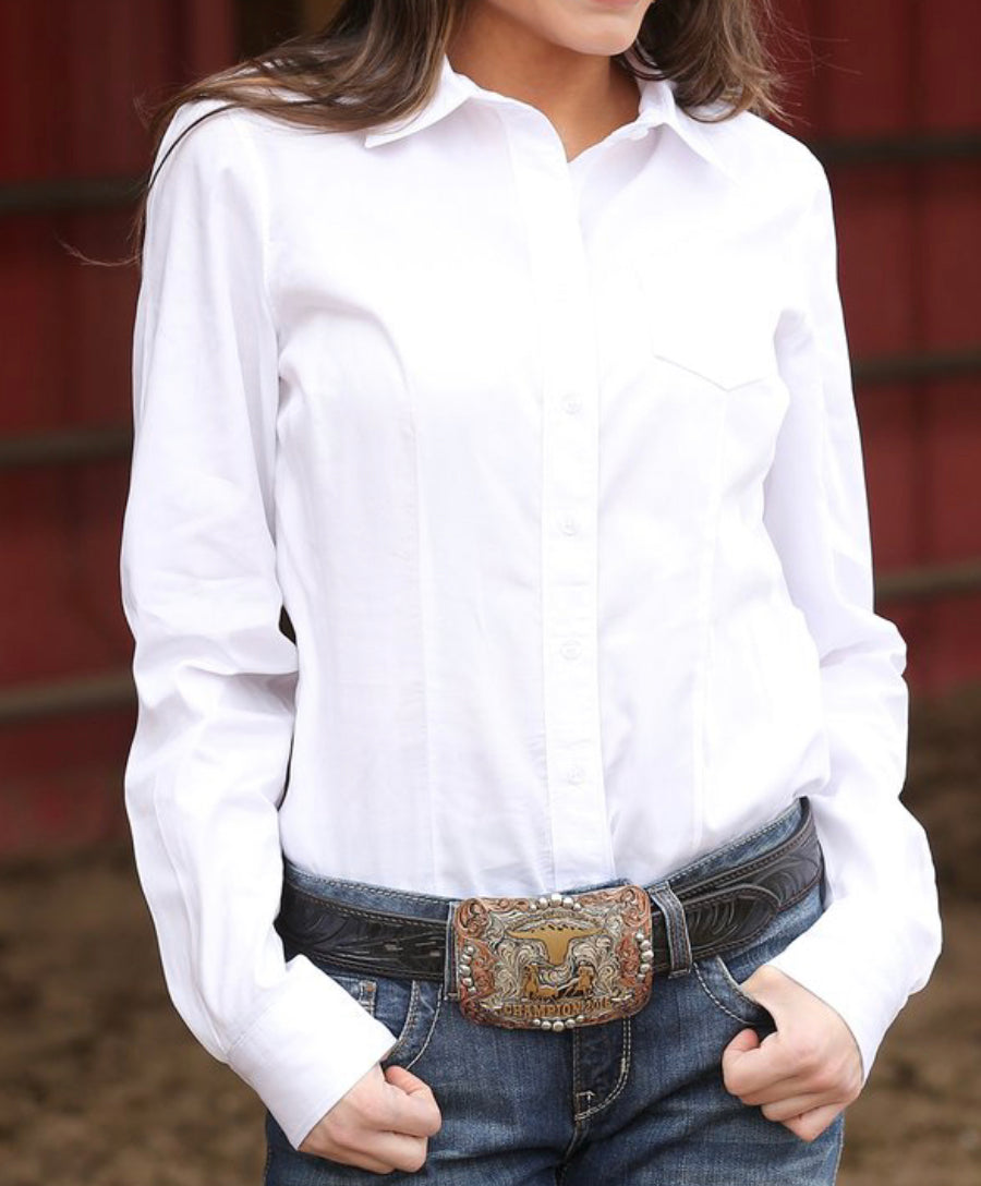 Ladies White Cinch Shirt