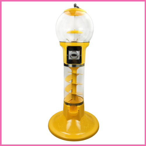 Yellow 4' Spiral Gumball Machine