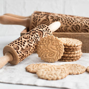 New Leaf Christmas Deer Wooden Rolling Pin Embossing Baking Cookies Noodle Biscuit Fondant Cake Dough Patterned Roller Snowflake