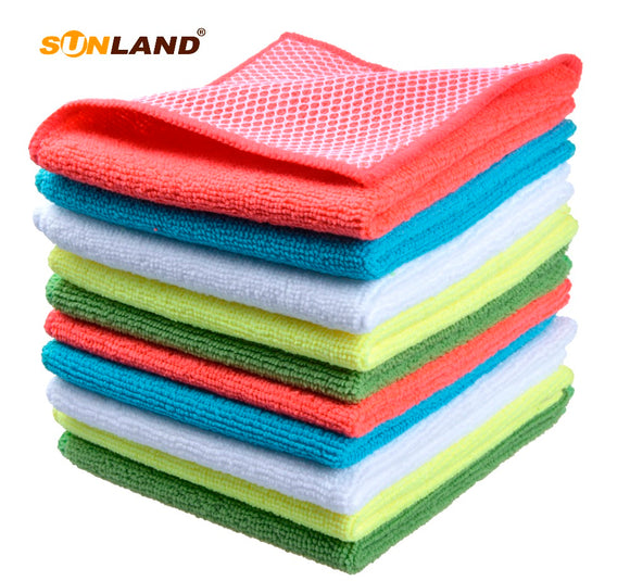 Sinland 10pcs Microfiber 12 by 12-Inch Kitchen Dish Cloth With Poly Scour Side Kitchen Dish Towels Cleaning Rag - Assorted Color