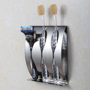 Stainless Steel Wall Toothbrush Holder / Organizer