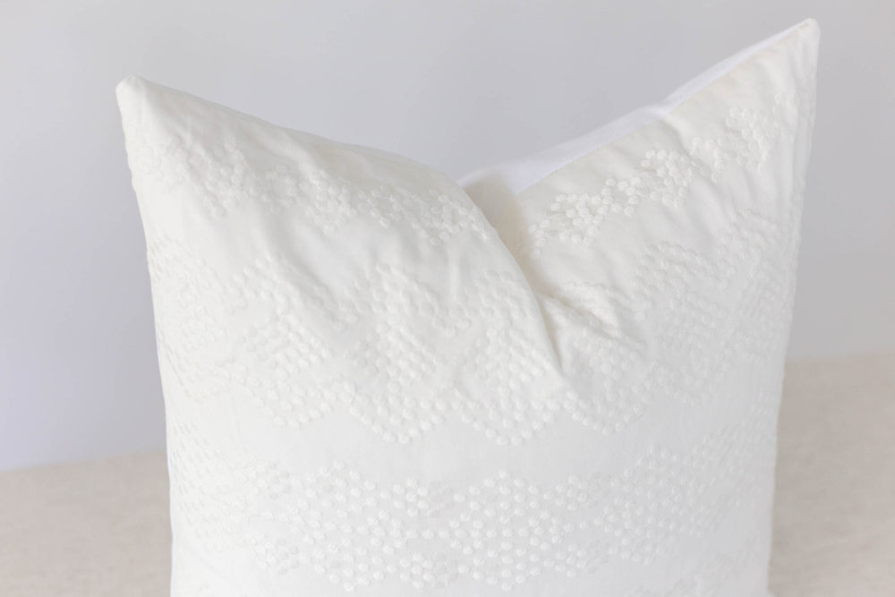 White Boho Handmade Pillow Cover