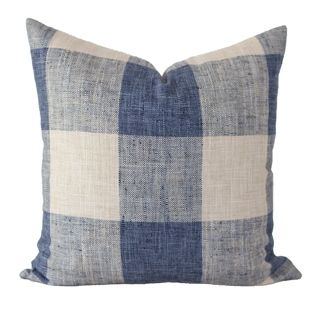 Gingham Blue Pillow Cover