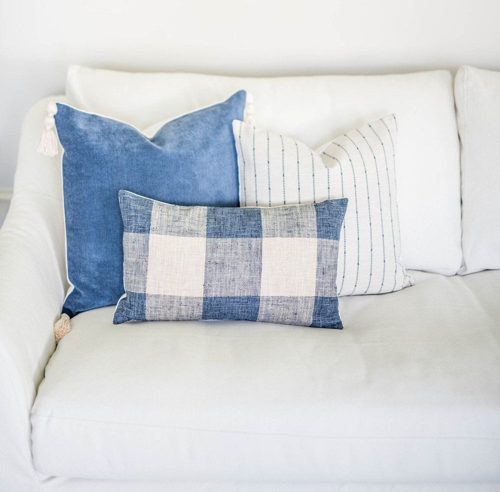 Gingham Blue Handmade Pillow Cover