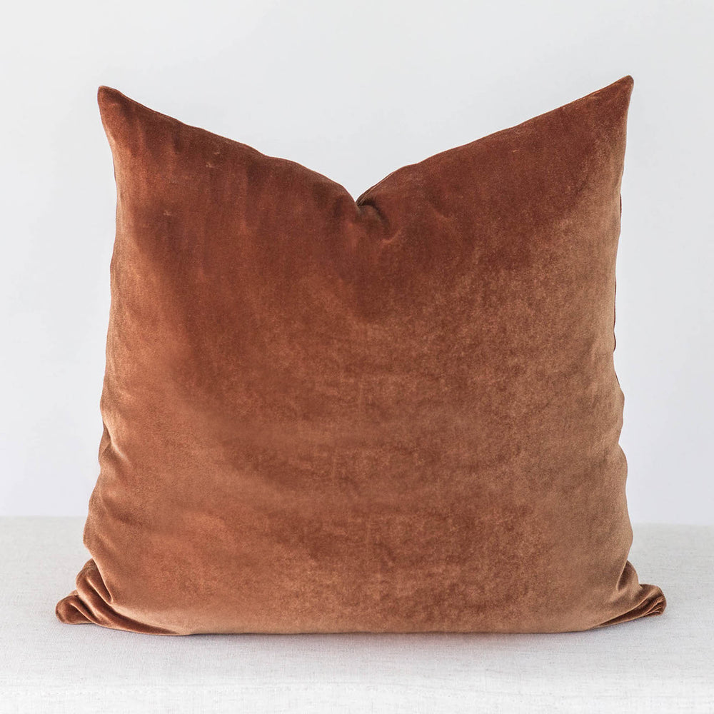 Rust Velvet Handmade Pillow Cover