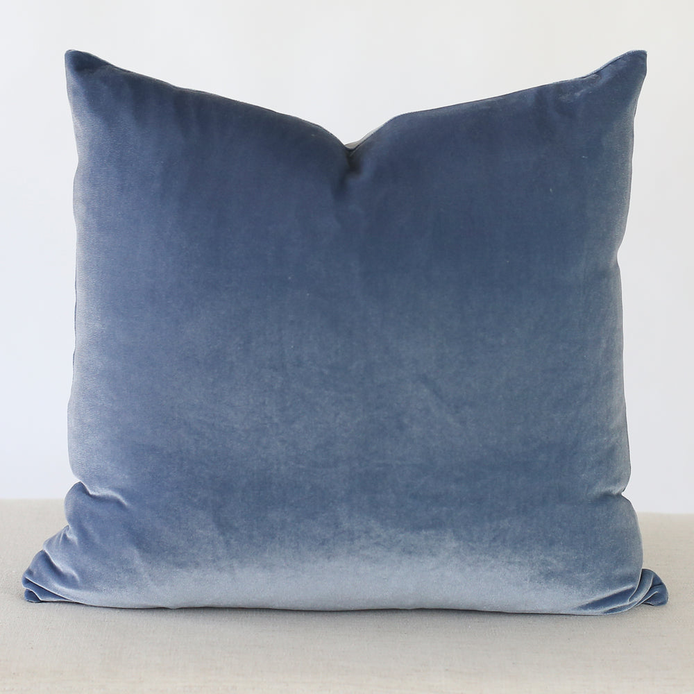 Sky Blue Velvet Handmade Pillow Cover