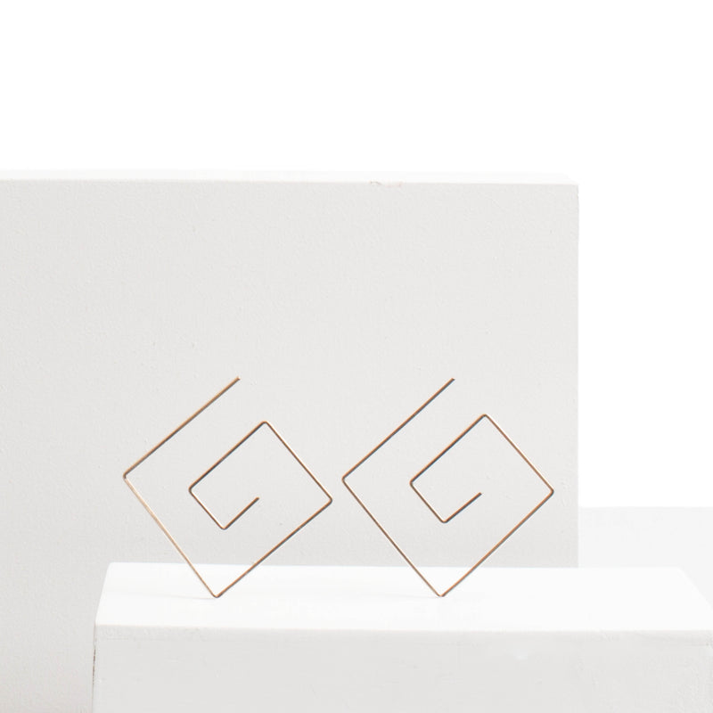 Hannah Greek Key Threader Earrings
