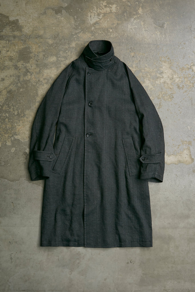 "INDIGO BASKET TWILL ""AJIRO "" OVER COAT"