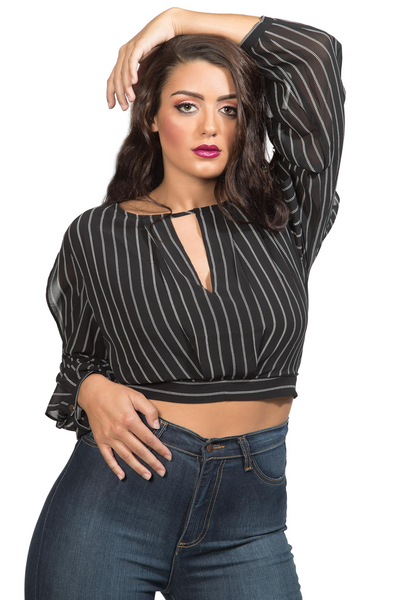 Black and White stripe cropped fashion blouse with cutout back. Date night top or blouse.