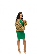 CAMEL FAUX FUR COAT