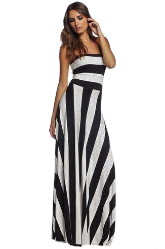 STRIPED CONVERTIBLE MAXI DRESS