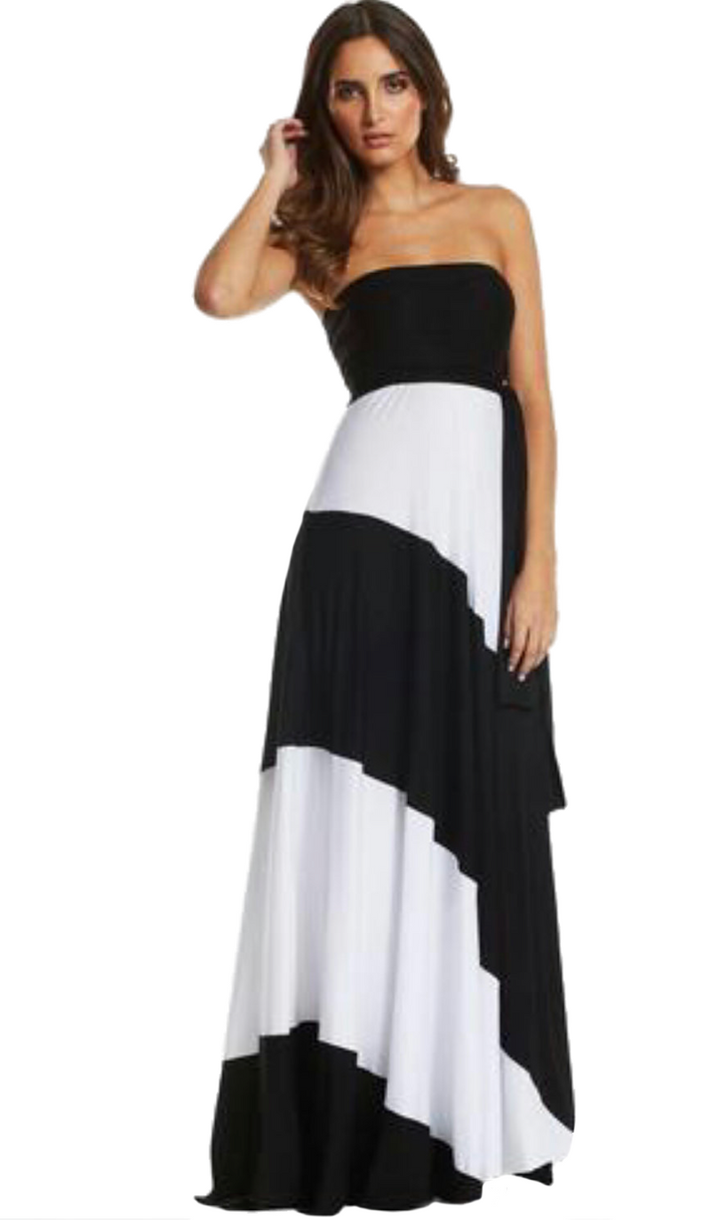 DIAGONAL CONVERTIBLE BLOCK MAXI DRESS
