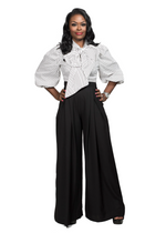 PALAZZO HIGH WAIST PANTS - BLACK