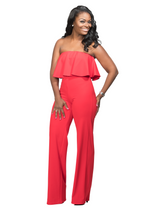 KATLYN RUFFLE JUMPSUIT -RED