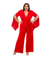 LONG SLIT SLEEVE JUMPSUIT - RED