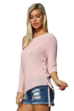 ROSALINE OFF THE SHOULDER SHEER SWEATER - BLUSH