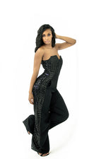 SEQUIN JUMPSUIT - BLACK