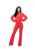 TIE BACK JUMPSUIT - RED